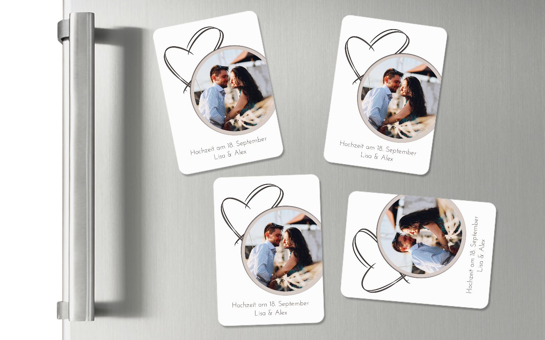 Ansicht 2 - Hochzeit Fotomagnet Doppelherz