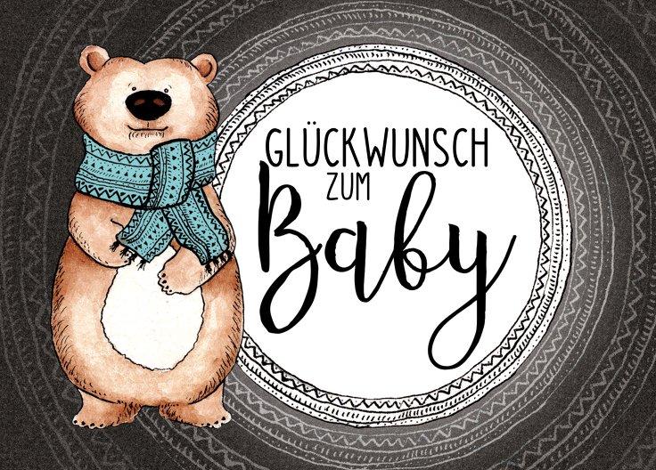 Ansicht 2 - Glückwunschkarte zur Geburt Bär