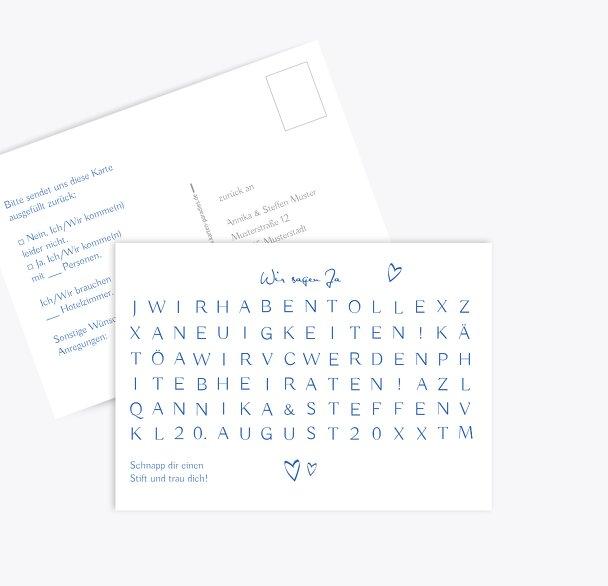 Hochzeit Antwortkarte Buchstabenrätsel