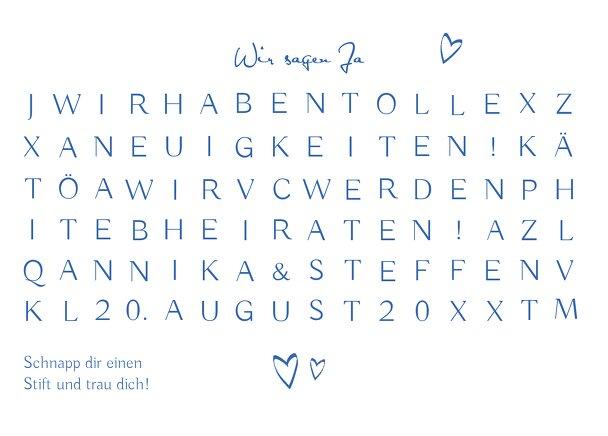 Ansicht 2 - Hochzeit Antwortkarte Buchstabenrätsel