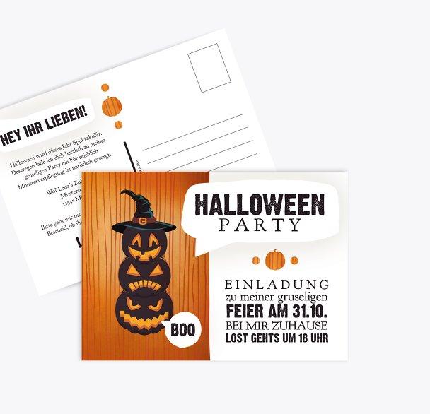 Halloweenkarte Kürbisköpfe
