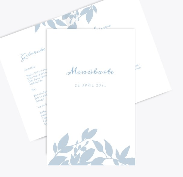 Hochzeit Menükarte Blauregen