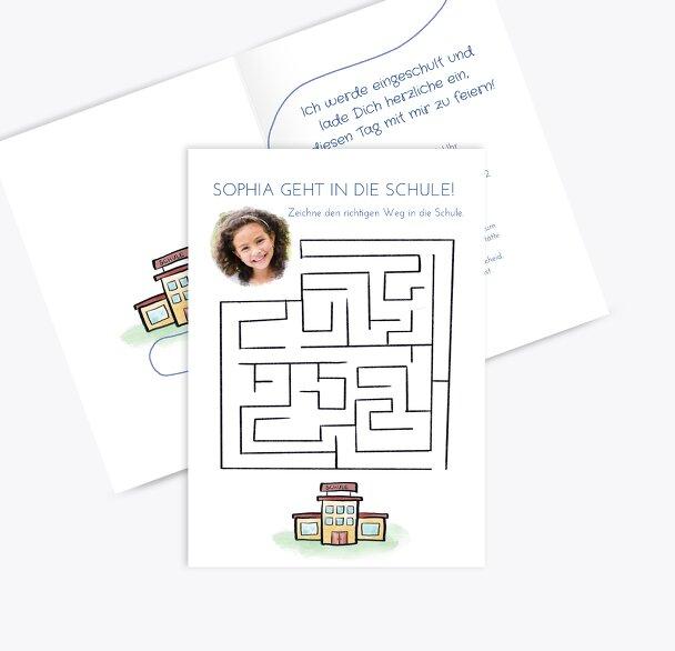 Einladung Einschulung Schule Labyrinth