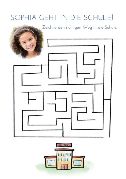 Ansicht 3 - Einladung Einschulung Schule Labyrinth