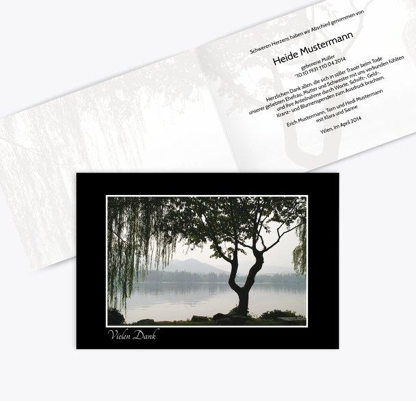 Dankeskarte Baum am See quer
