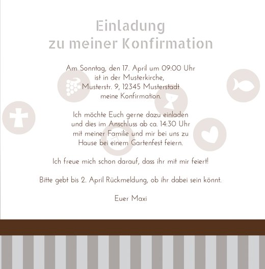 Ansicht 5 - Konfirmation Einladung stripes-buttons