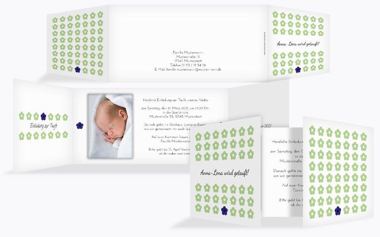 Taufkarte Blumentapete