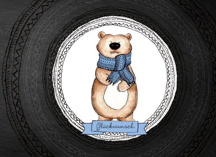 Ansicht 3 - Glückwunschkarte zur Geburt Vintage Bär