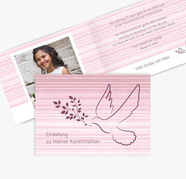 Einladung zur Konfirmation Taube 2