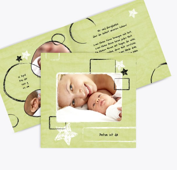 Geburtskarte Kreidepapier