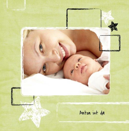 Ansicht 3 - Geburtskarte Kreidepapier