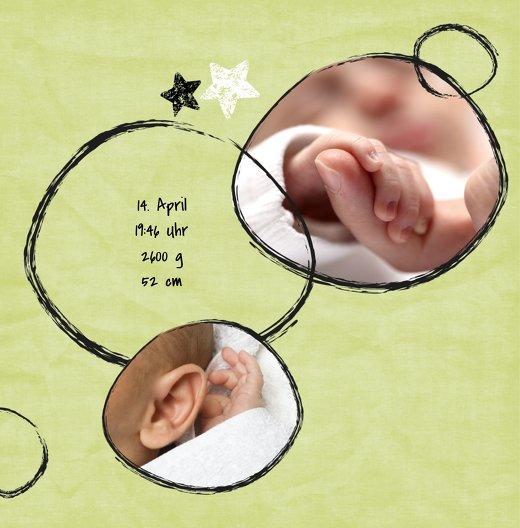 Ansicht 4 - Geburtskarte Kreidepapier