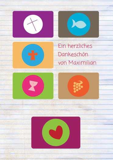 Ansicht 3 - Kommunion Dankeskarte buttons