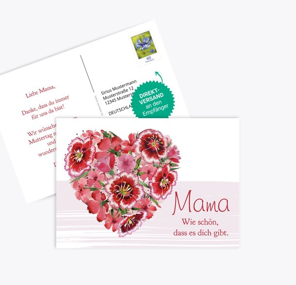 Muttertagskarte Blumenherz