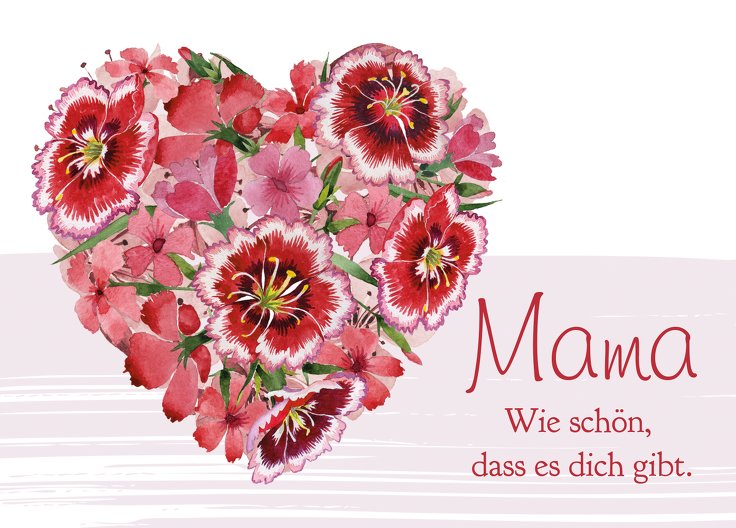 Ansicht 2 - Muttertagskarte Blumenherz