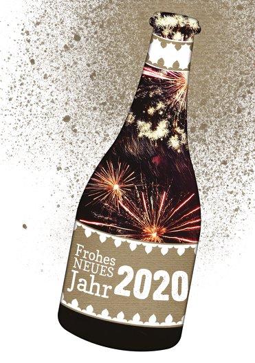 Ansicht 3 - Neujahrskarte Sektflasche