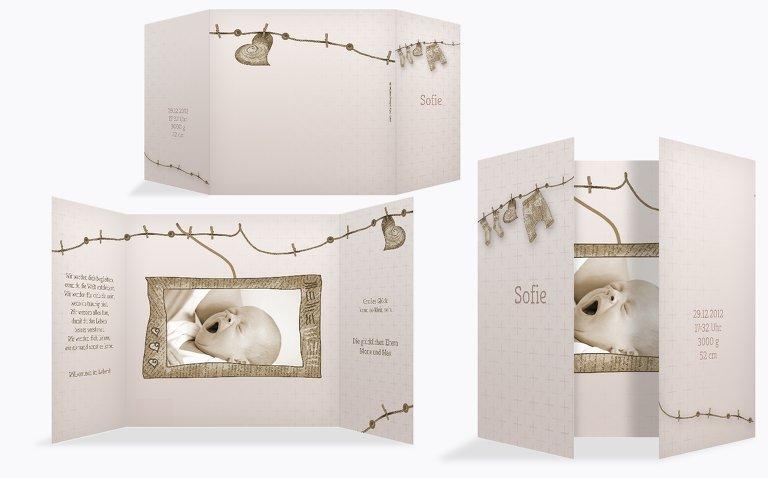 Babykarte Wäscheleine