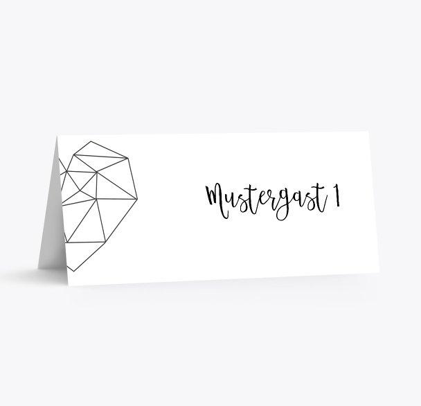 Hochzeit Tischkarte straight heart