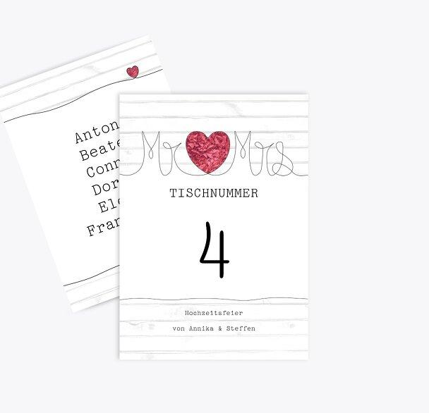 Tischnummer Mr&Mrs