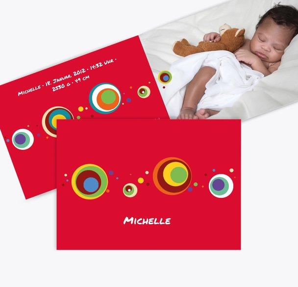 Geburtskarte Retro Kreise