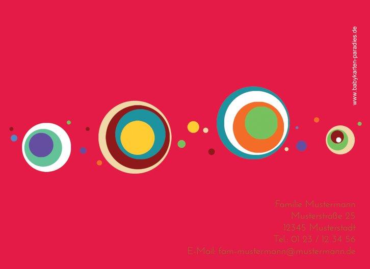 Ansicht 2 - Baby Dankeskarte Retro Kreise