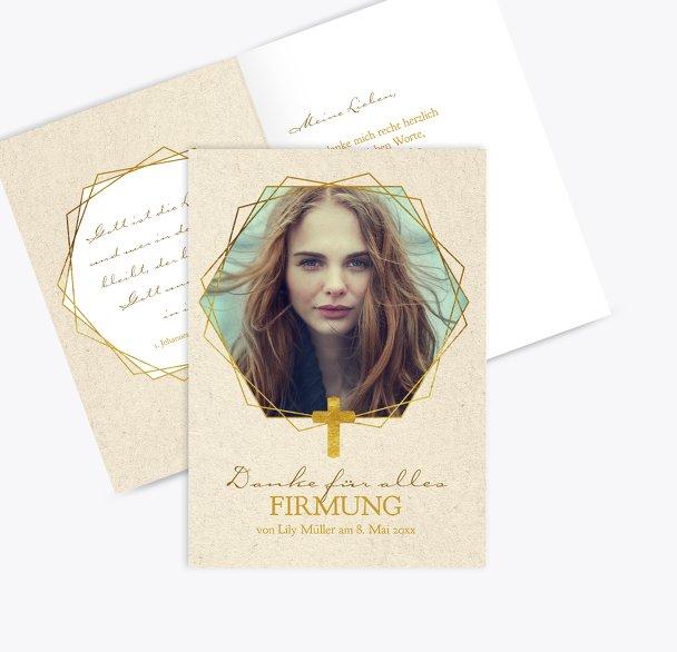 Firmung Dankeskarte Goldrausch