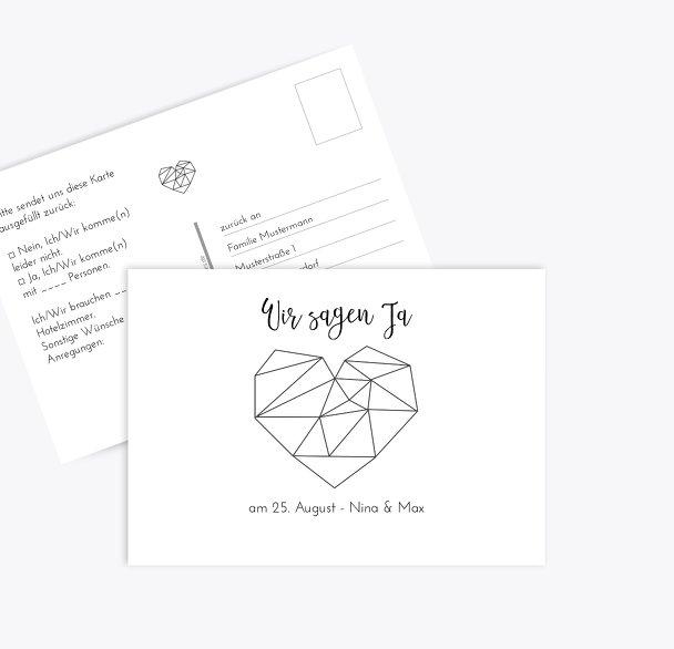 Hochzeit Antwortkarte straight heart
