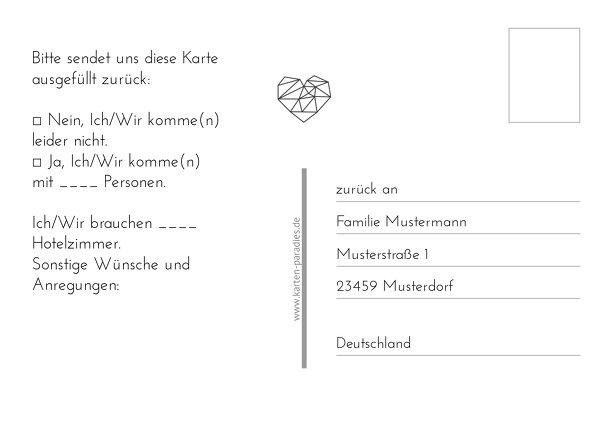 Ansicht 3 - Hochzeit Antwortkarte straight heart