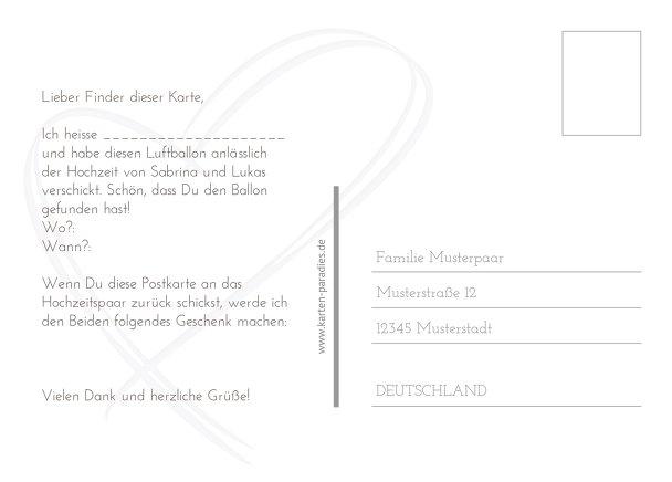 Ansicht 3 - Hochzeit Ballonkarte Doppelherz