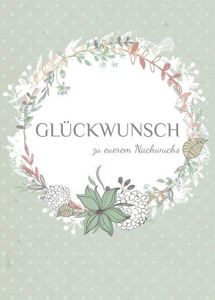 Ansicht 2 - Glückwunschkarte zur Geburt Blumenranke