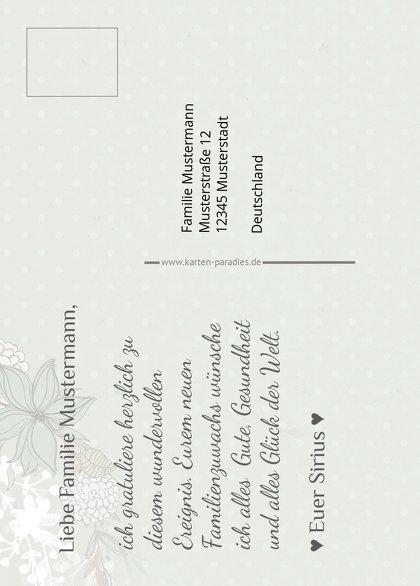 Ansicht 3 - Glückwunschkarte zur Geburt Blumenranke