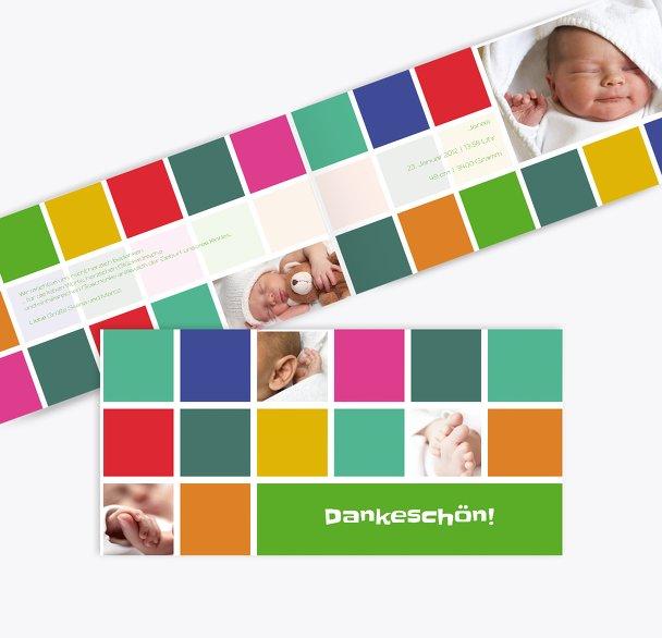 Baby Dankeskarte bunte Würfel