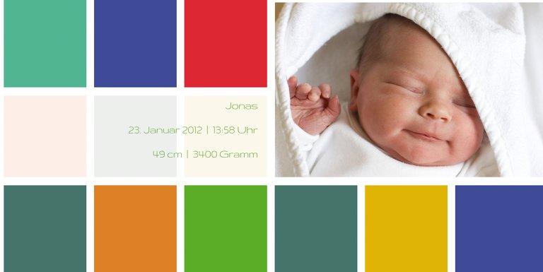 Ansicht 5 - Baby Dankeskarte bunte Würfel