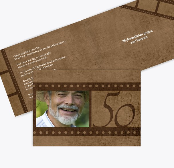 Geburtstagseinladung Retrofilm 50 Foto
