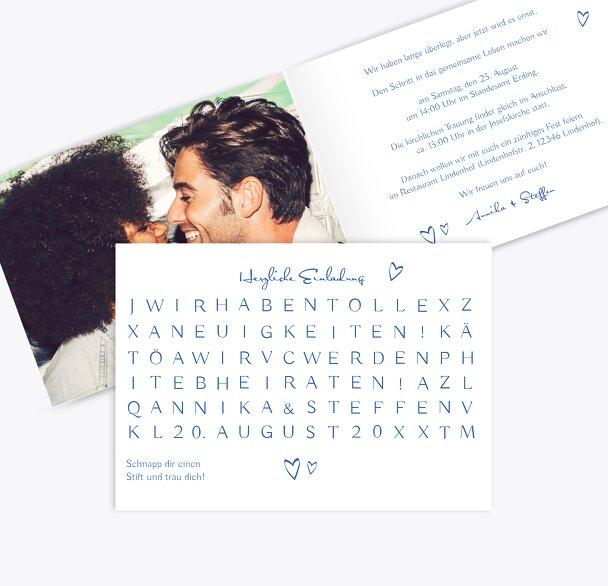 Hochzeit Einladung Buchstabenrätsel