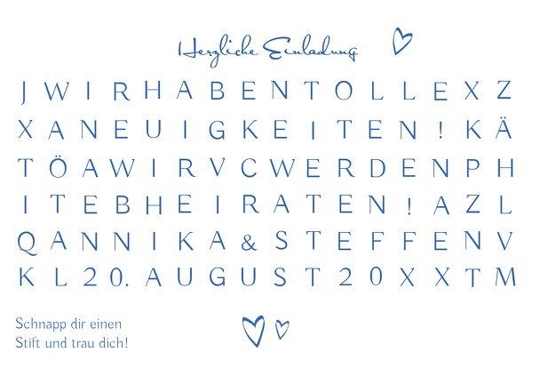 Ansicht 3 - Hochzeit Einladung Buchstabenrätsel