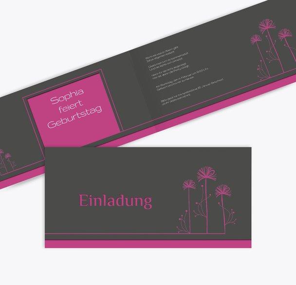 Einladungskarte Blume abstrakt