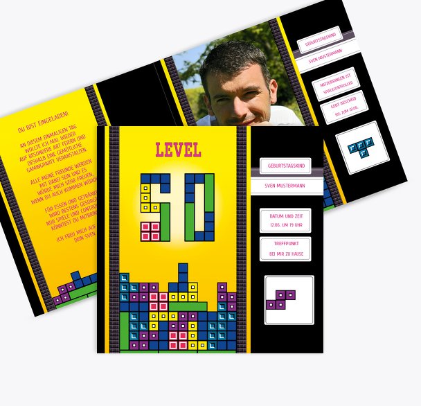 Geburtstagskarte 8bit Game 50 Foto