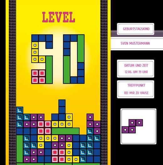 Ansicht 3 - Geburtstagskarte 8bit Game 50 Foto