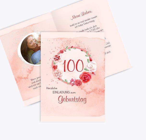 Geburtstagseinladung Aquarell Rosen 100 Foto