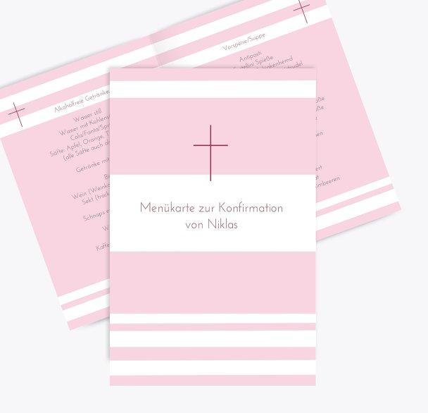 Menükarte zur Konfirmation Kreuz