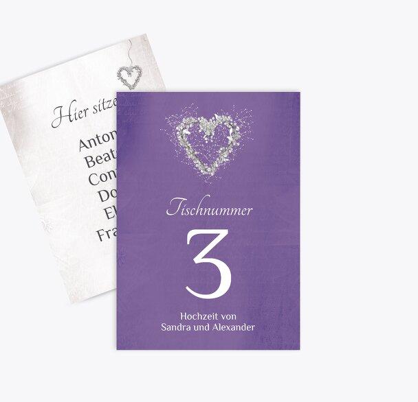 Tischnummer glamour heart