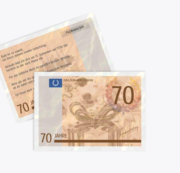 Einladungskarte Geldschein 70
