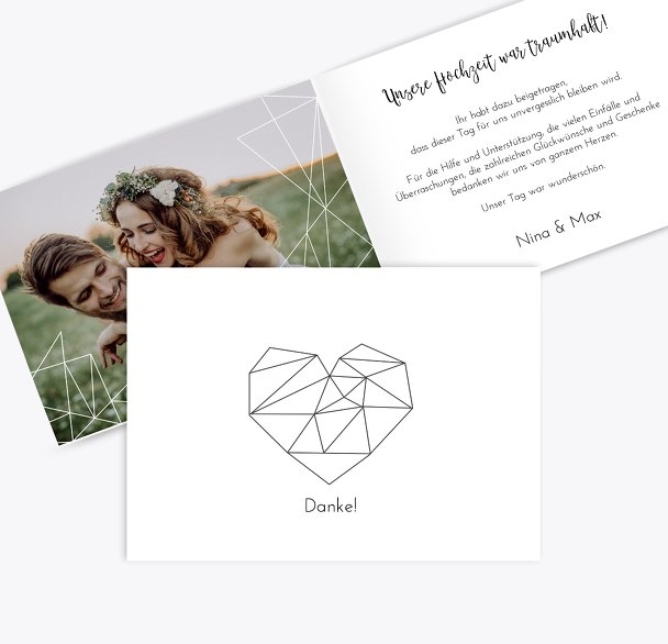 Hochzeit Dankeskarte straight heart