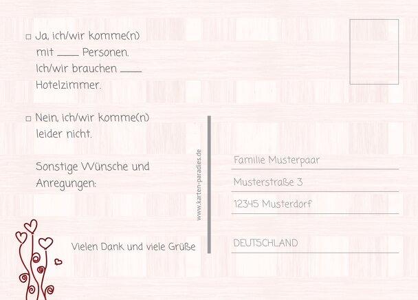 Ansicht 3 - Hochzeit Antwortkarte Liebestraum