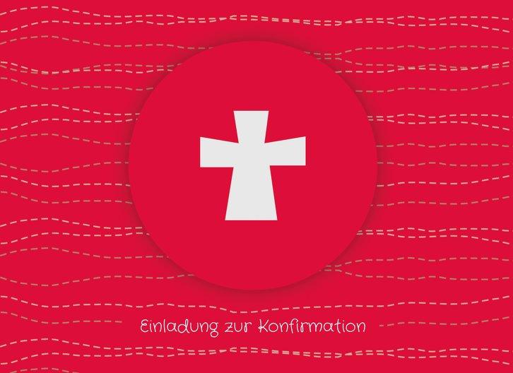 Ansicht 3 - Einladung Konfirmation Wellen Kreuz