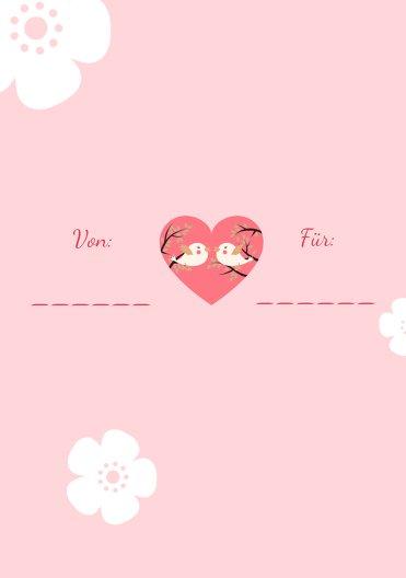 Ansicht 2 - Valentinskarte Vogelpaar