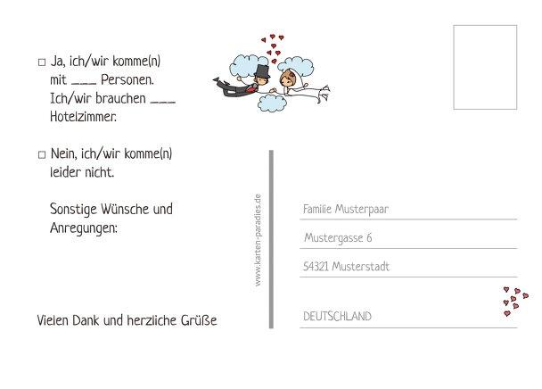 Ansicht 3 - Hochzeit Antwortkarte Comic Brautpaar