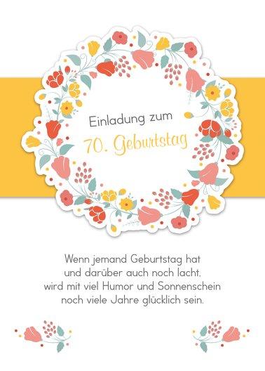 Ansicht 2 - Geburtstagseinladung Blumenkranz 70