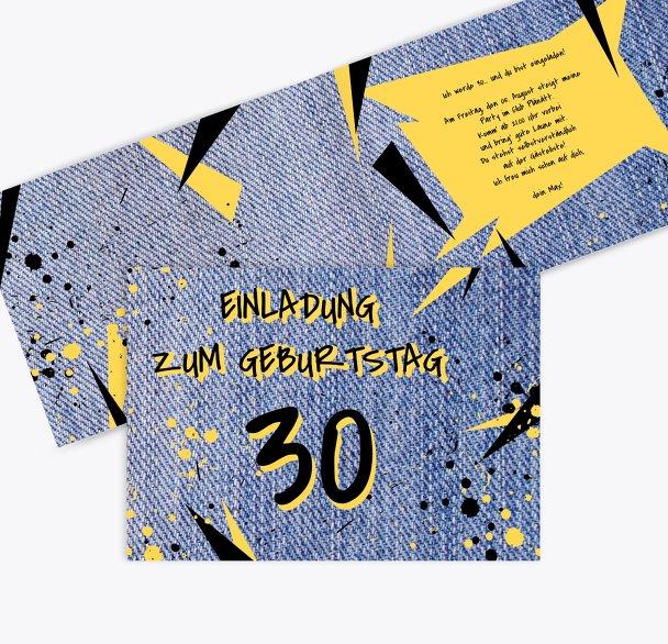 Geburtstagseinladung Jeans Style 30